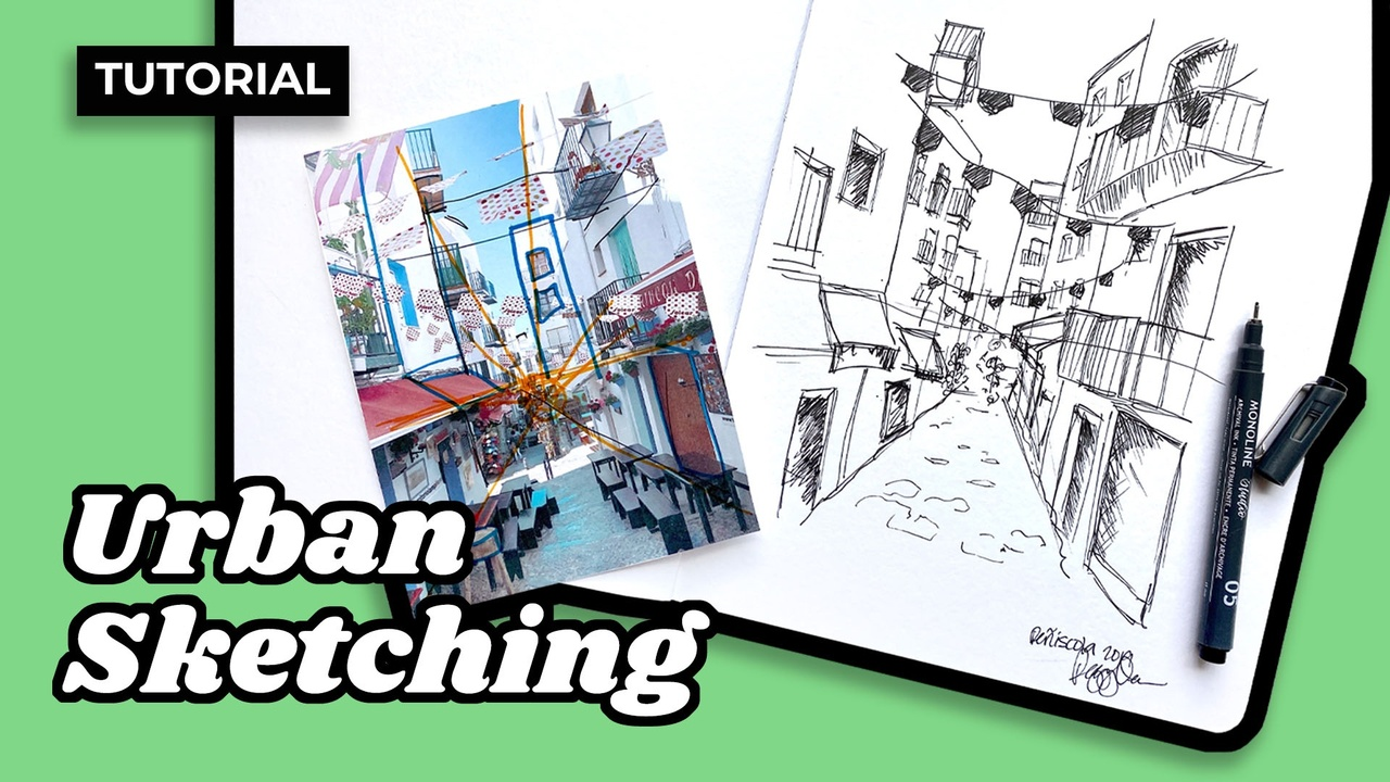 Learn to create an urban sketch in 30 minutes