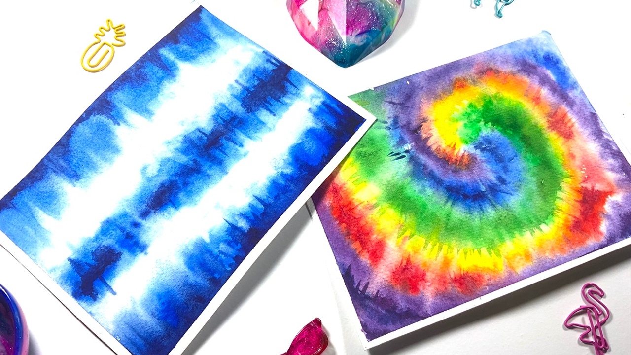 How to paint tie dye backgrounds using watercolor