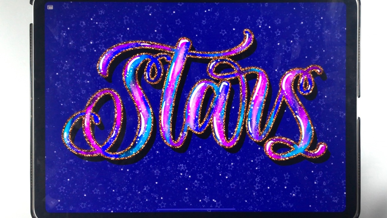 How to create galaxy lettering in Procreate