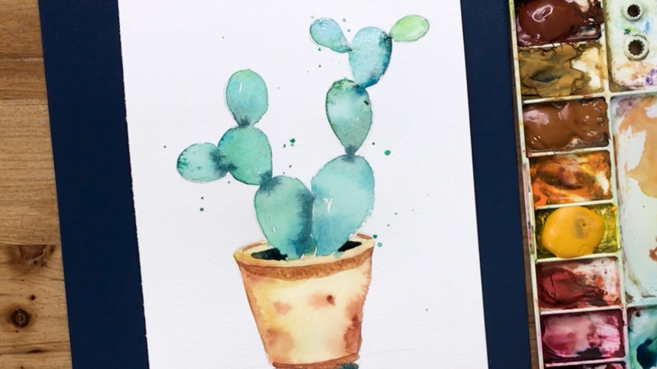 How to paint a watercolor cactus