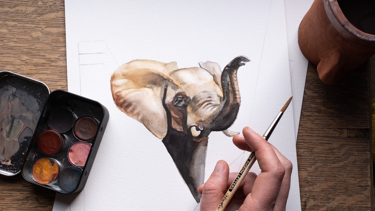 Watercolor painting of an elephant