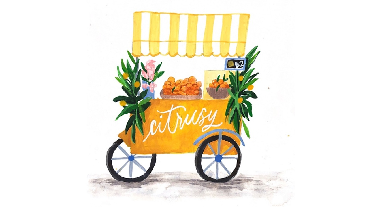 How to paint a street food cart using gouache