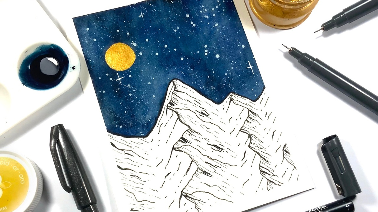 how to draw a watercolor mountain scene