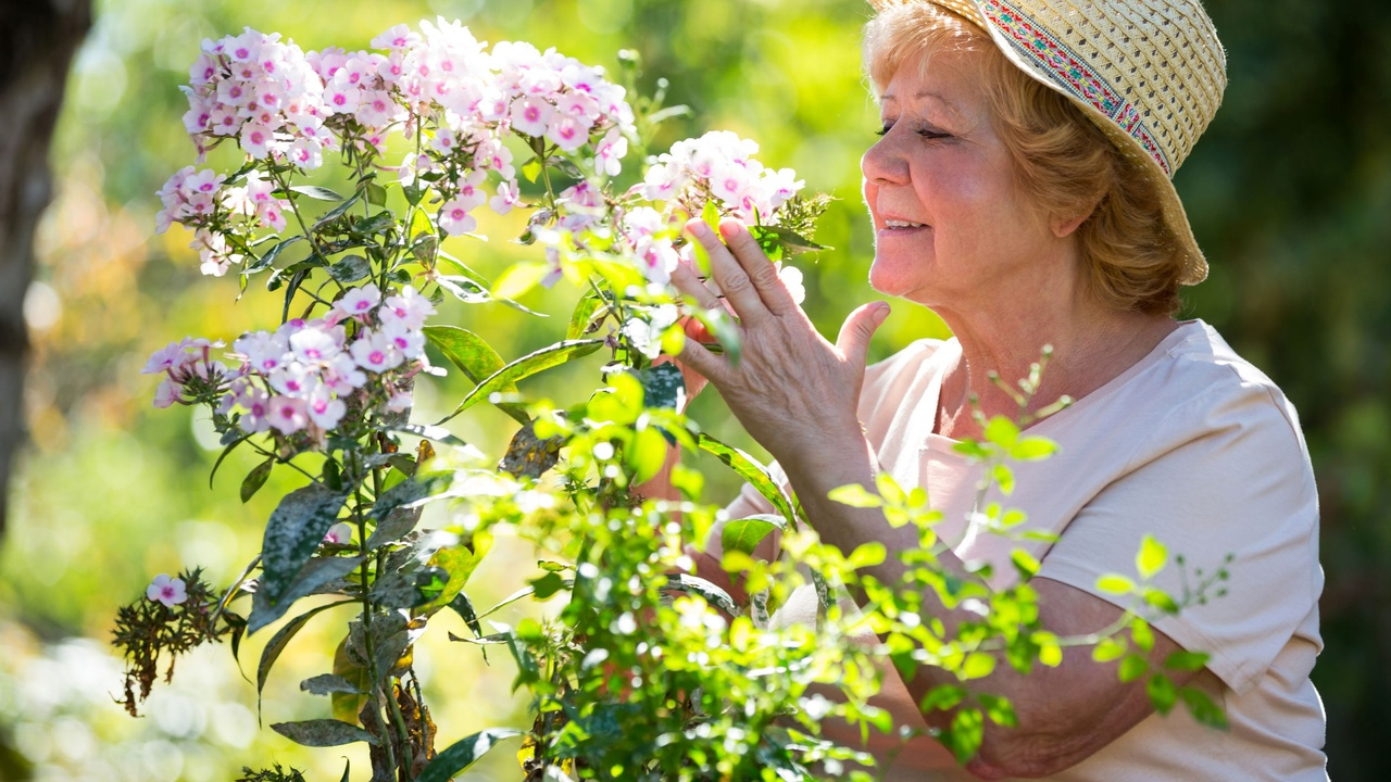 An older woman smelling fragrant flowers