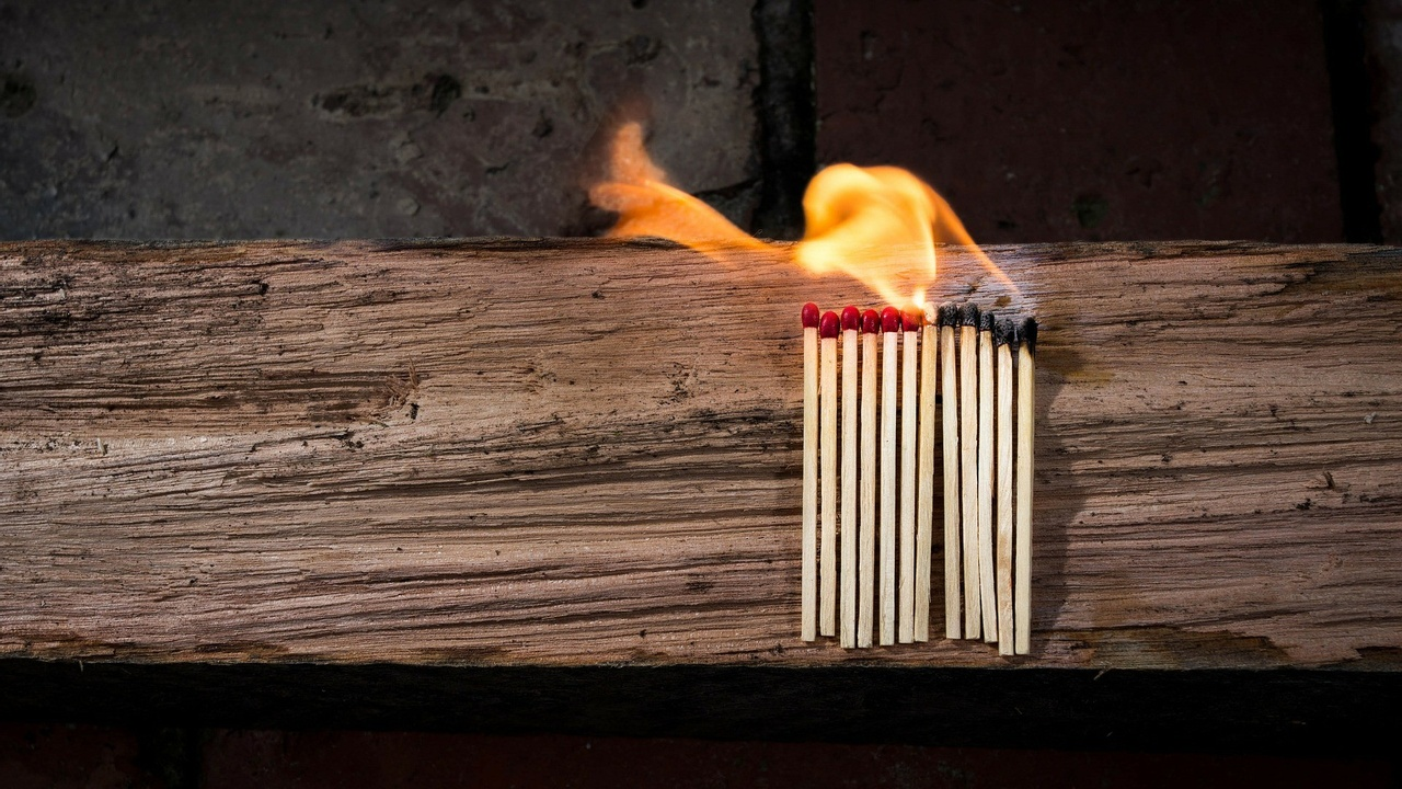a set of matches on fire