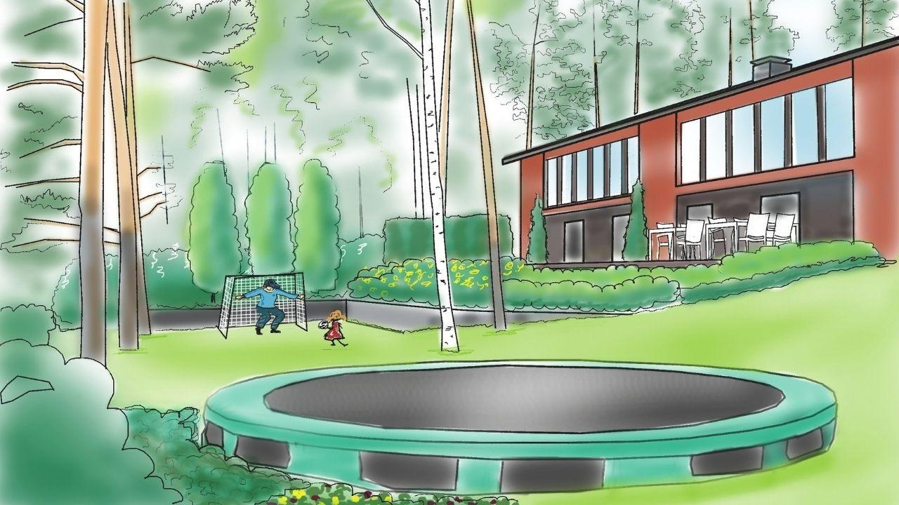 Garden makeover helped this family to create a playfield on a sloping site.