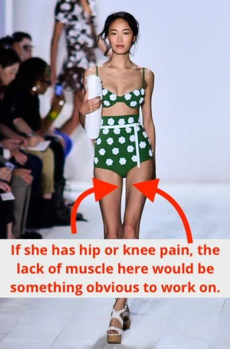 A meme of a model walking the catwalk used to illustrate the problems with having weak muscles.