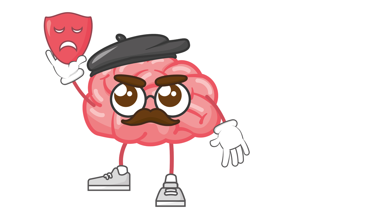 cartoon drawing of a brain holding a dramatic mask