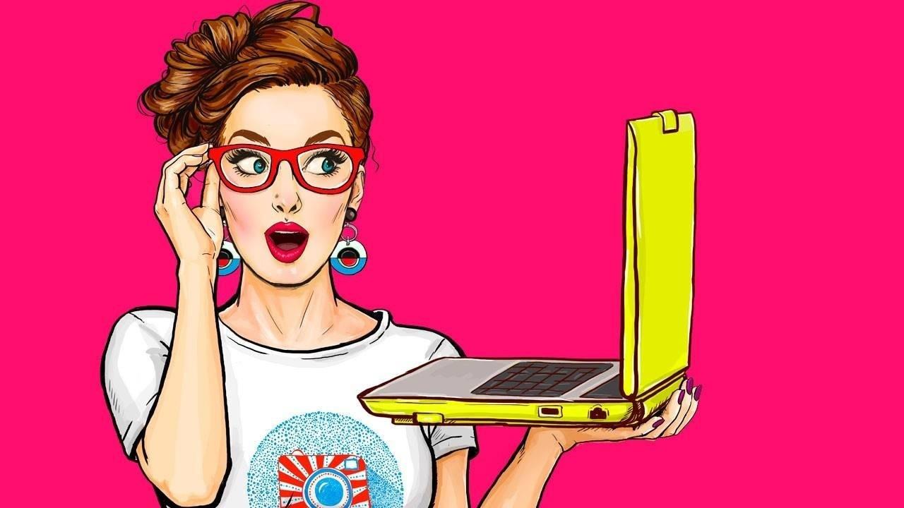 pop art image of woman holding a laptop