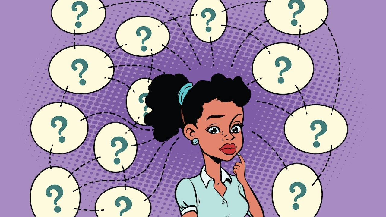 woman surrounded by questions