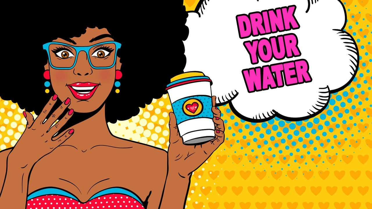 pop art image of black woman holding a cup