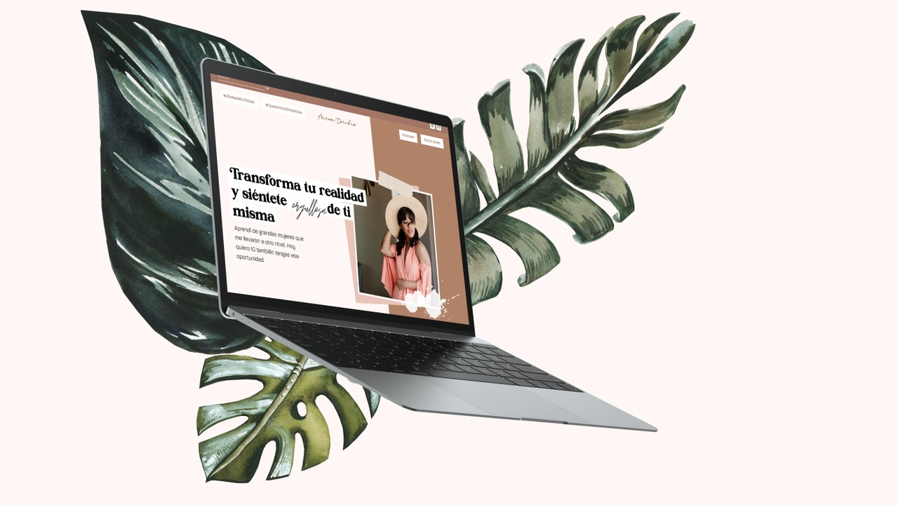 Web Design for journalist and blogger with boho, watercolor illustrations, collage style.