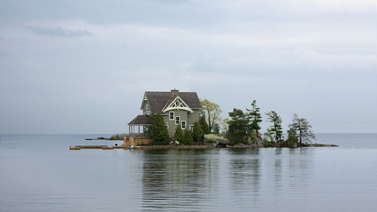 House on a small island in a lake