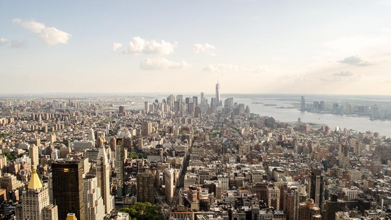 NYC skyline aerial photo