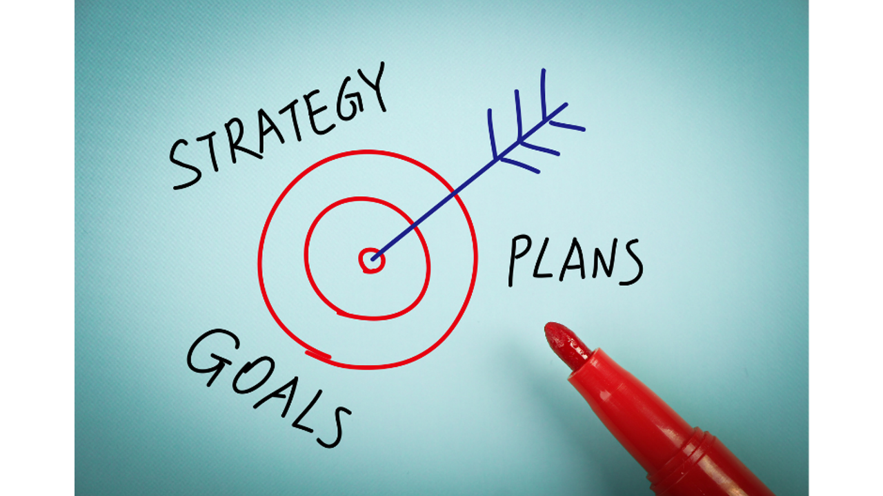 a drawing with the words strategy, goals, and plans