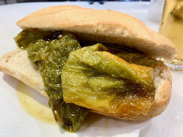 One of the best vegetarian tapas in Madrid: a fried pepper sandwich.
