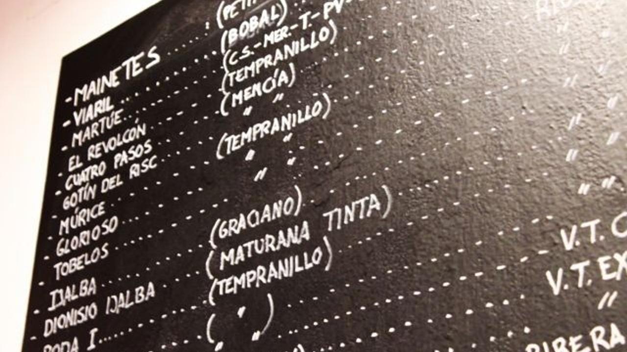 A wine list at Vides wine bar in Madrid
