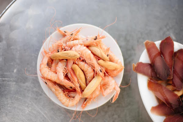 Boiled shrimp at Cervecería La Grande, one of the best tapas bars in Triana.