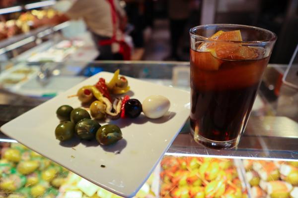 mercado de San Miguel - vermouth and banderillas