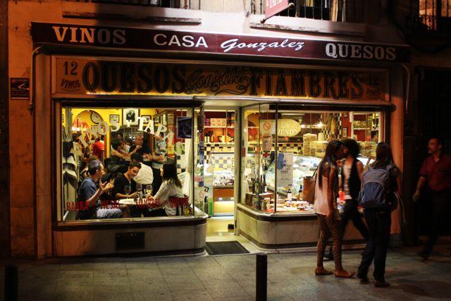 Casa Gonzalez, a Madrid tapas and wine bar at night, a Madrid tapas and wine bar at night