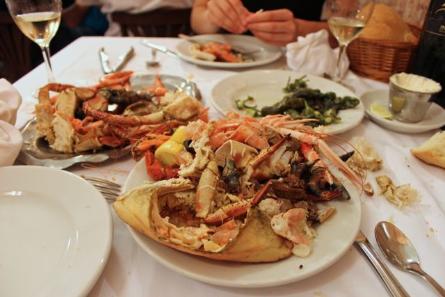 Seafood leftovers from a seafood platter at Ribeira do Miño, Madrid seafood restaurant