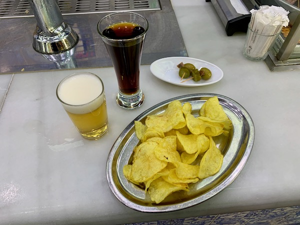 Chips, beer and vermouth at El Doble on Calle Ponzano, Madrid