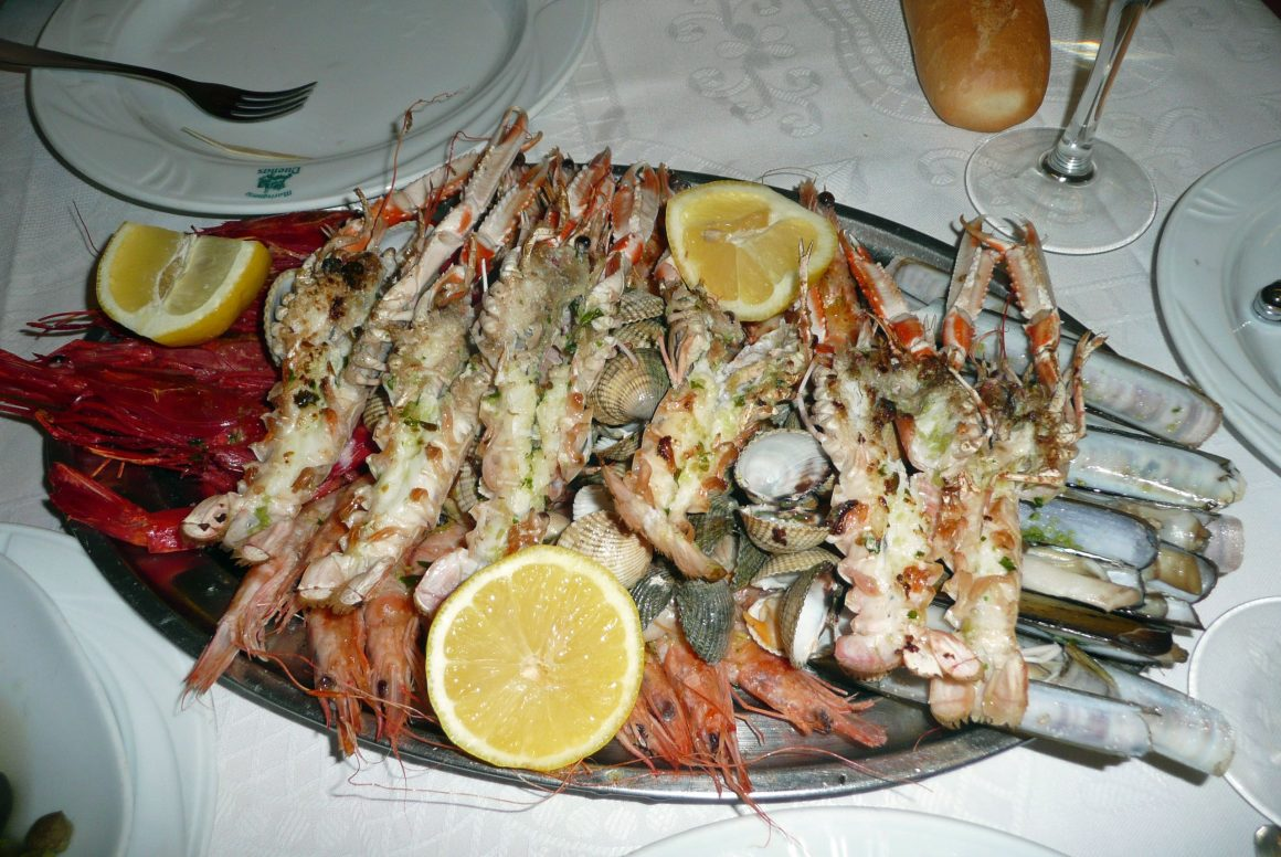 a seafood platter at a Madrid restaurant