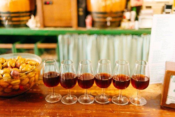 Glasses of amontillado sherry