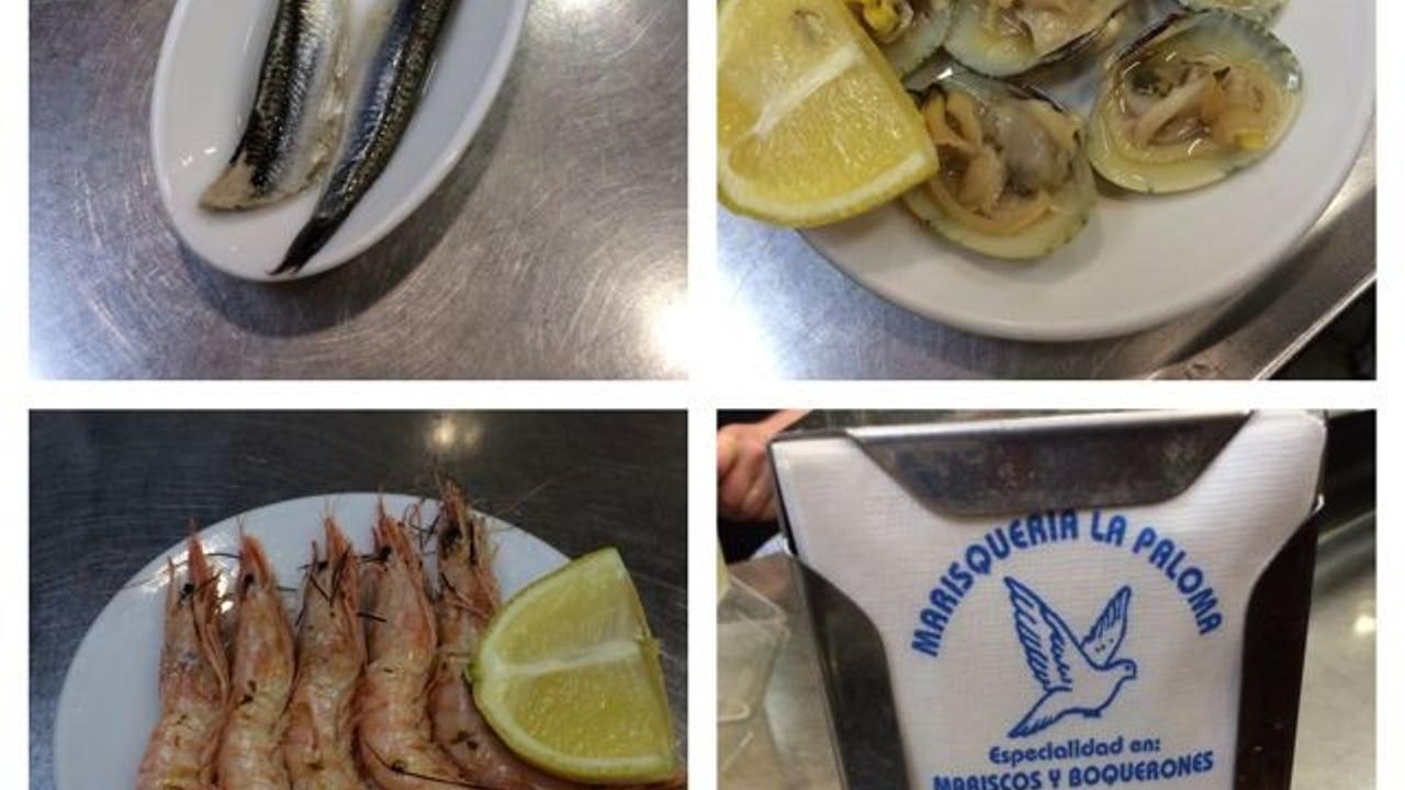 A selection of seafood at Marisquería La Paloma, La Latina, Madrid