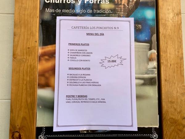 A typical menú del día - three courses, bread, and a drink.