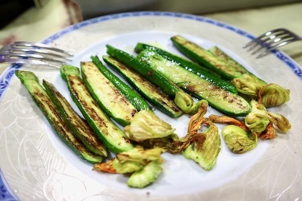 Grilled zucchini flower