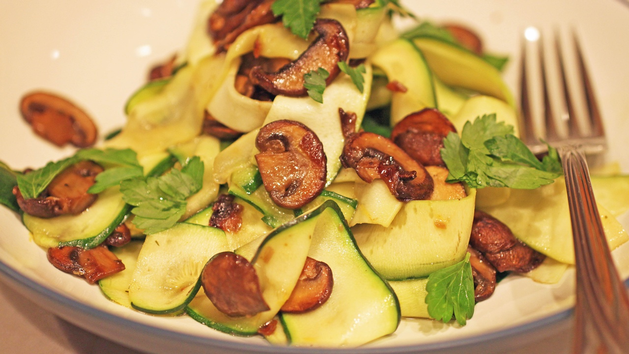 AIP Zucchini Pappardelle with Mushrooms