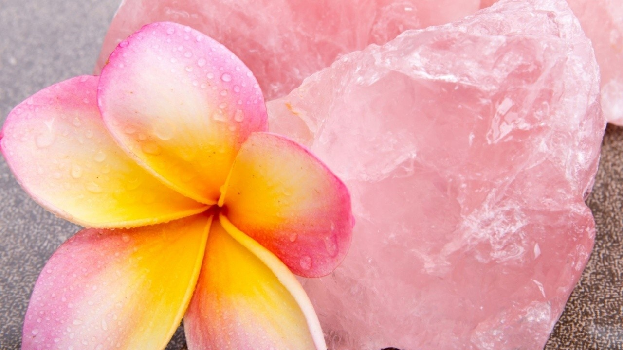 pink gardenia and rose quartz