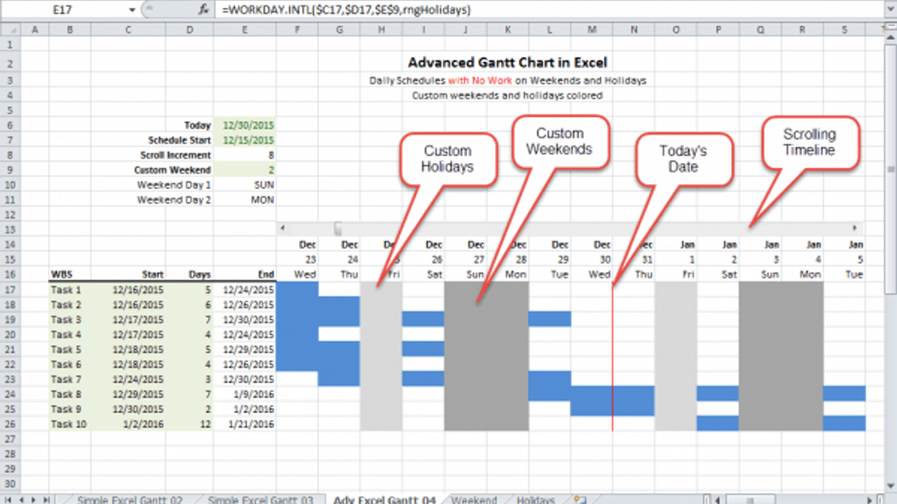 Manage Consulting Projects with a Gantt Chart  that Accounts for Holidays