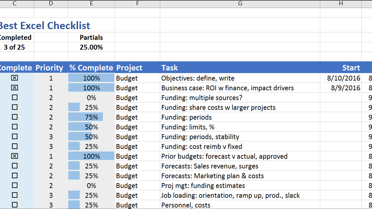 The Best Excel Checklist uses no Visual Basic, but has a great set of features. It's easy to create and modify