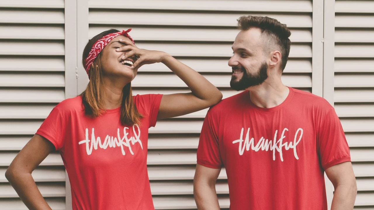 thankful grateful smiling woman and man
