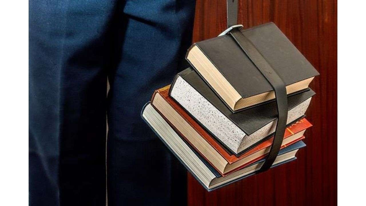 Books tied with belt