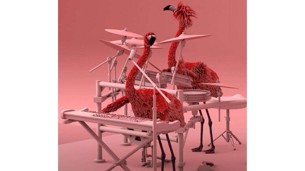 Flamingos with musical instruments