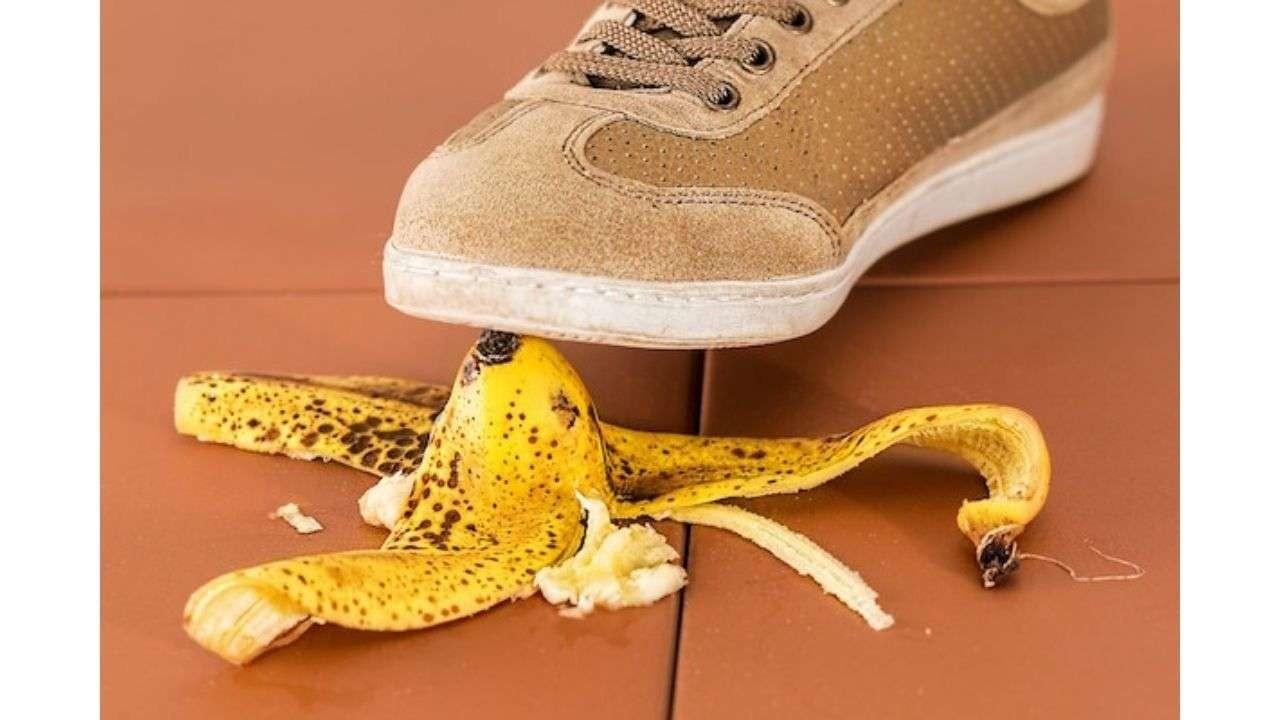 Shoe on banana peel