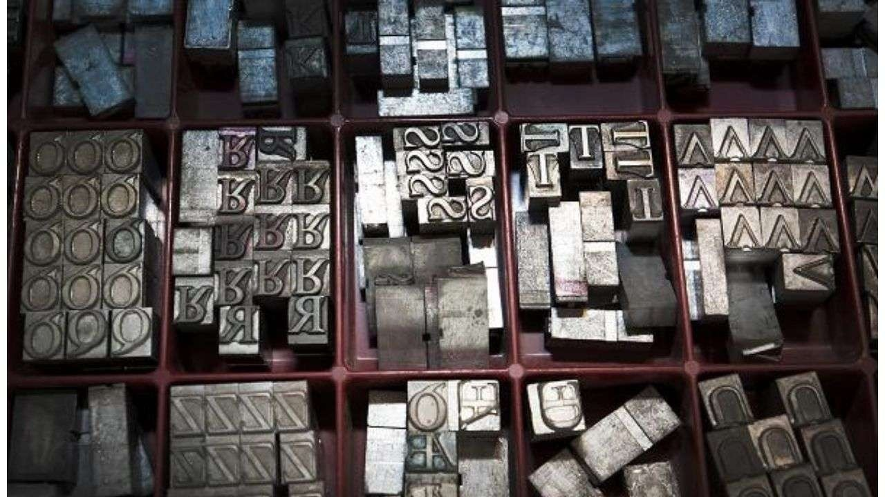 Pieces of a printing press