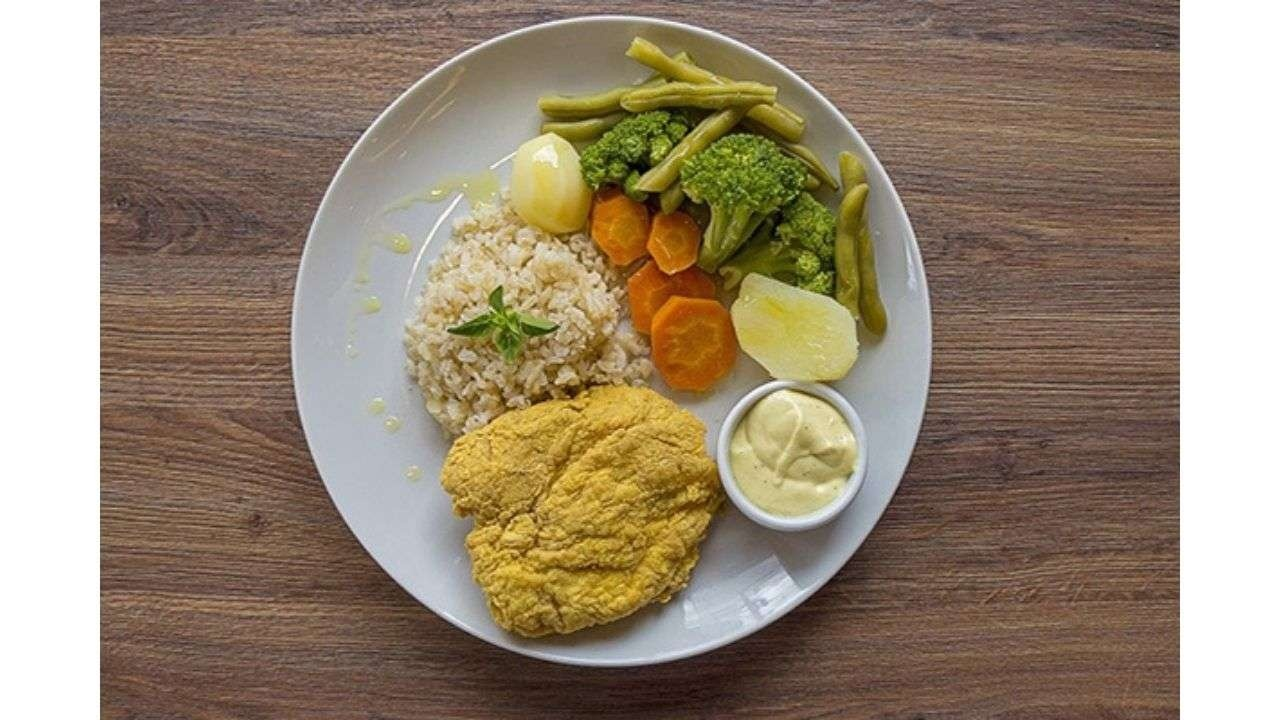 Dish with healthy food