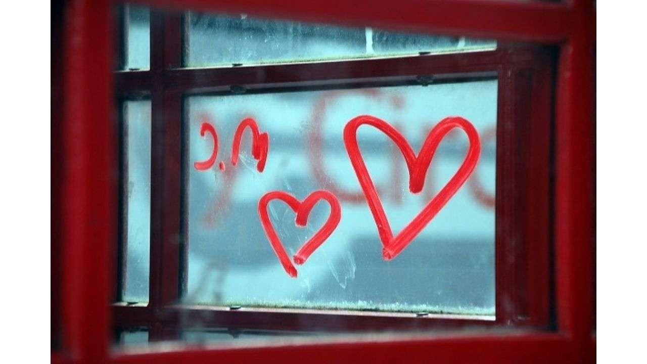 Hearts drawn in window