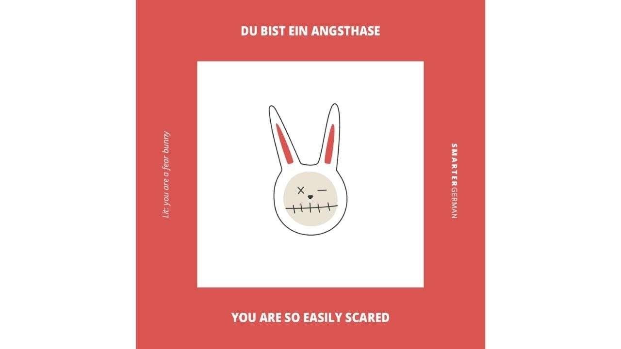 Rabbit illustration. Texts: