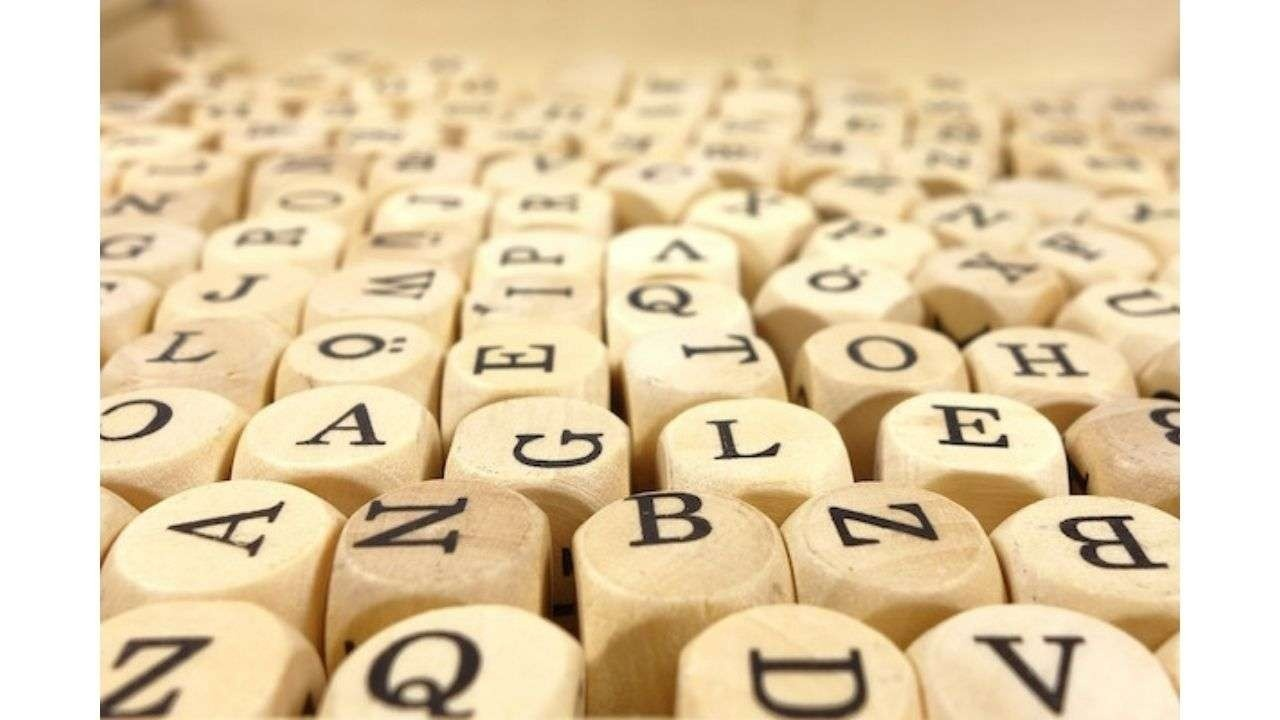Wood cubes with letters