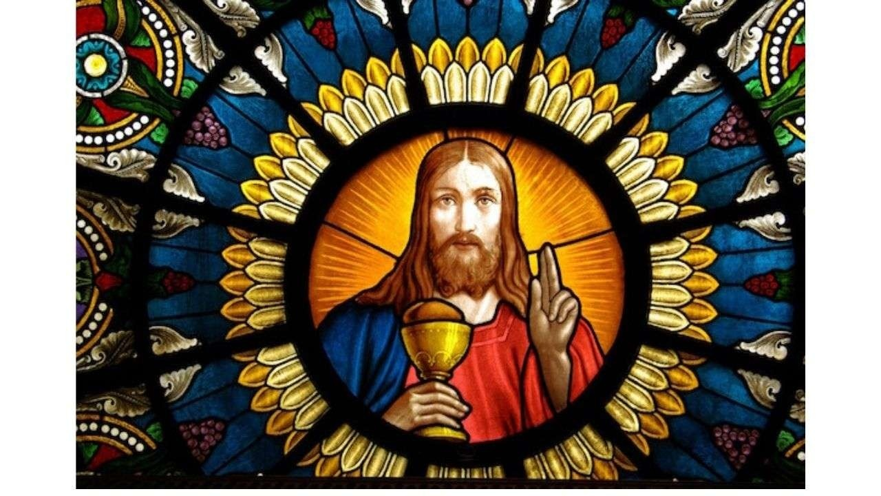 Jesus Christ in painted glass
