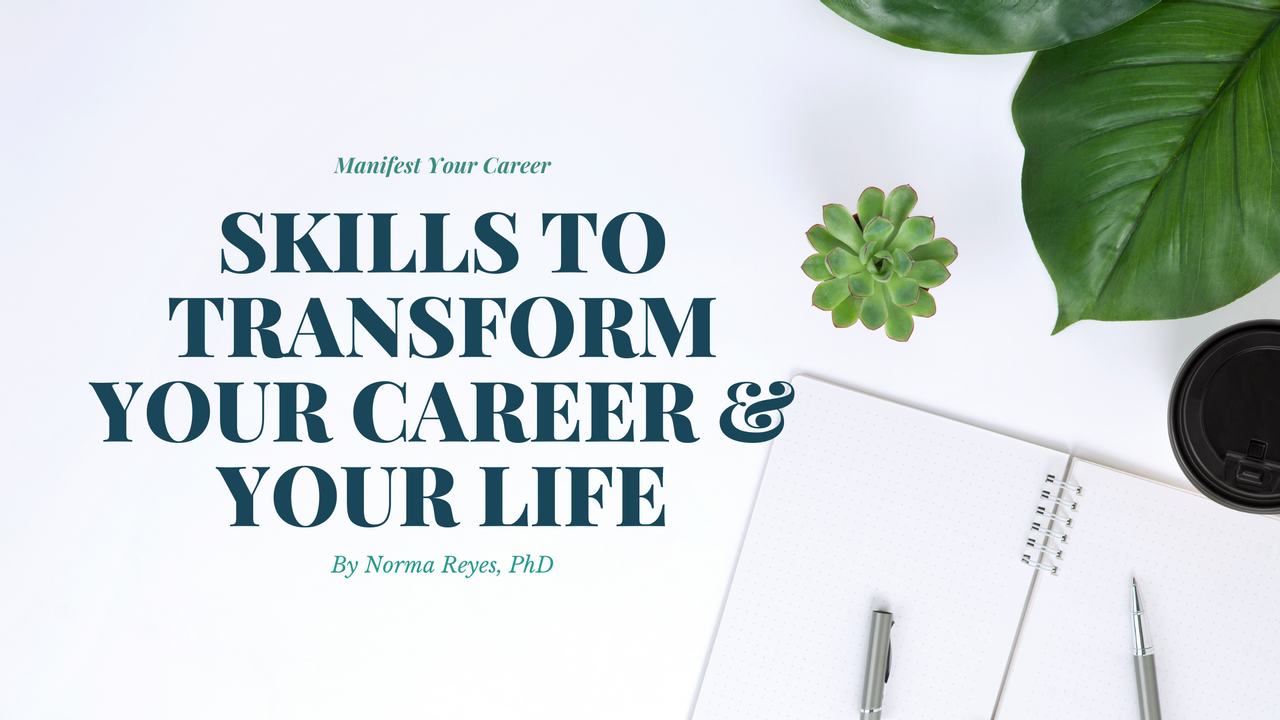 Title: Skills to Transform your career and life.  Image of note pad, pen, succelent and large leaf plant.