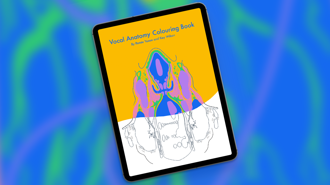 Vocal Anatomy Colouring Book title page on a tablet on a blue and green background