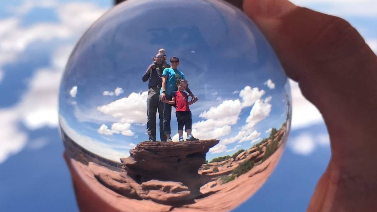 shannon and family in glass ball