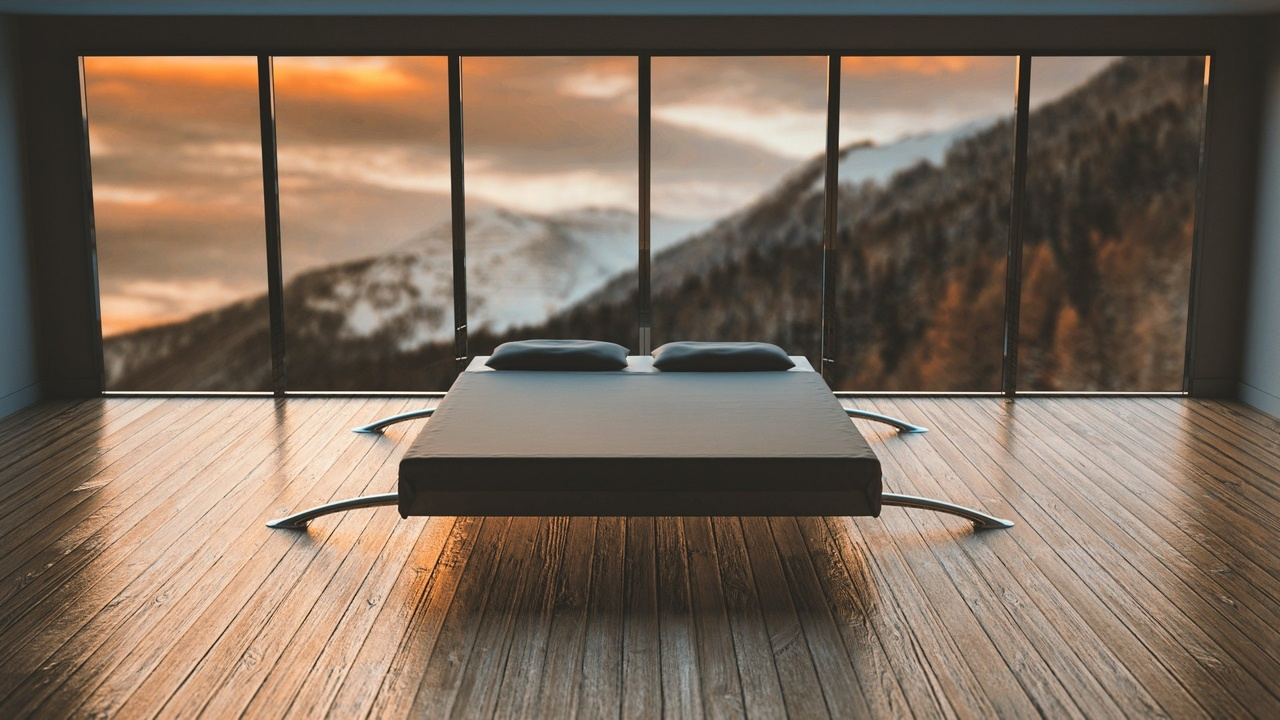 Minimalist bedroom, bed with a beautiful view.