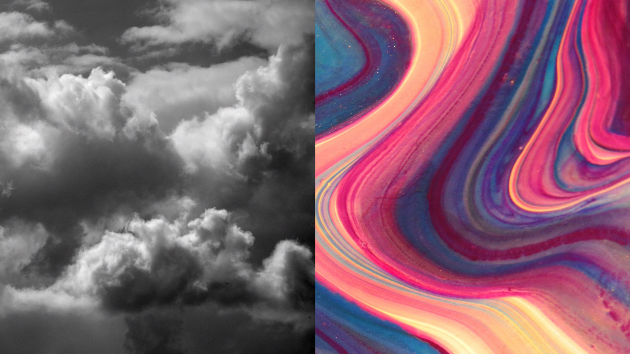 Gray cloudy sky juxtaposed with swirls of bright color.